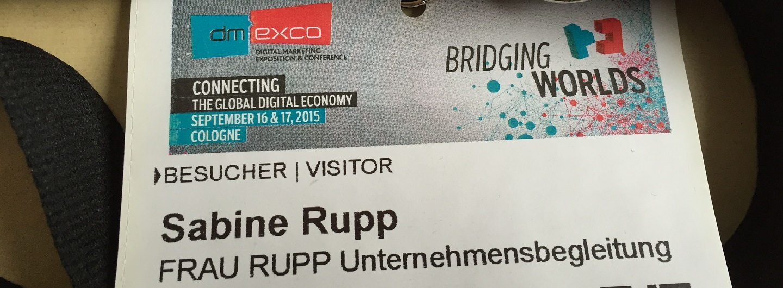 Sabine Rupps Ausweis für die dmexco 2015 - Messe für digitales Marketing