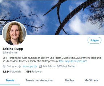 FRAU RUPP bei Twitter - mit dem Account-Namen @herzblutde